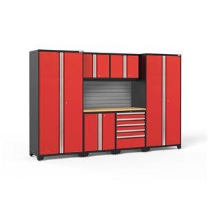 Armoire Pro Series de New Age Products, en acier et en bambou, à 5 tiroirs, ensemble de 7 morceaux, rouge
