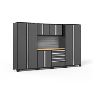 Armoire Pro Series de New Age Products, en acier et en bambou, à 5 tiroirs, ensemble de 7 morceaux, gris foncé