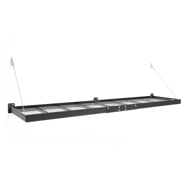New Age Produts Pro Series Wall Mounted Shelf - Steel - 2-ft x 8-ft - Black - Set of 2