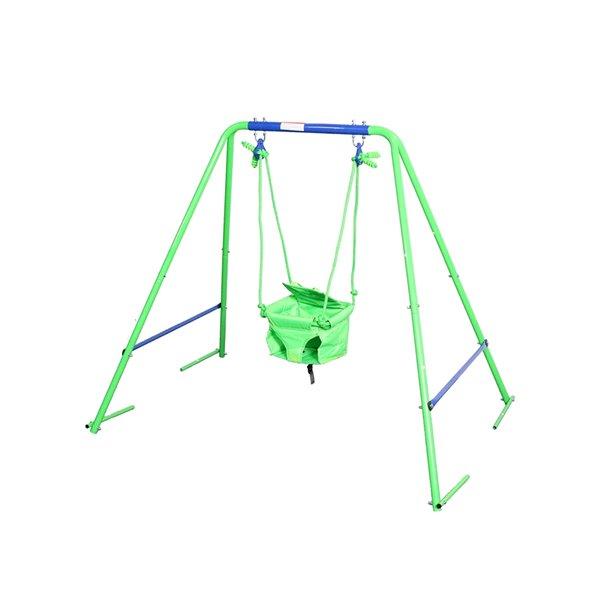 Sportspower Residential 2-in-1 Swing Set - 2-Swings - Metal - Blue/Green