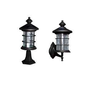 Classy Caps Hampton Outdoor Solar Wall Light with LED - 14-in - Black Aluminum - 1-Pack