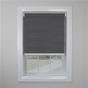 Toile alternée d'intimité sans cordon Slimline de Versailles Home Fashions, filtre d'éclairage, 48 po x 84 po, gris graphite