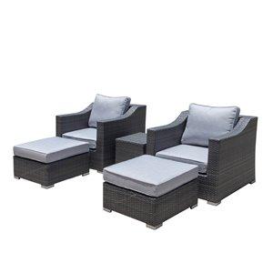 Ensemble de fauteuils extérieurs Kavala de Starsong, ens. de 5 pièces, gris pâle