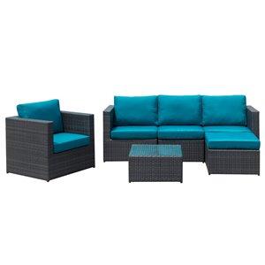 Starsong Dublin Sofa Set - 6-Piece - Peacock