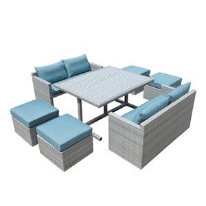 Ensemble à dîner pour patio Bonifacio de Starsong, 7 pièces, bleu