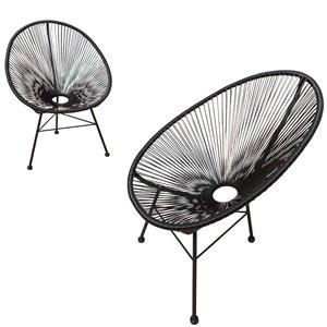 Chaises de patio en osier Hidalgo de Starsong, ens. de 2, noir