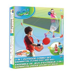 Ensemble de jeux d'éxtérieur 3-en-1 Go! Zone, badminton, disque volant et balle