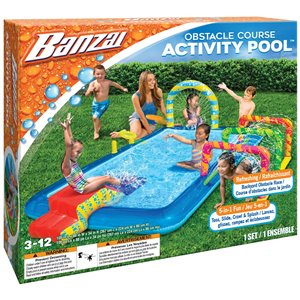 Banzai 5-in-1 Obstacle Course Activity Pool - 105-in x 88-in - Blue