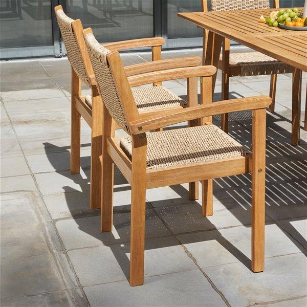 Vifah Chesapeake Patio Dining Chair Wood Brown Set Of 2 V1951 Rona