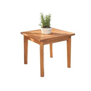 Table d'appoint d'extérieur Gloucester de Vifah, capacité de 2, carré, bois, brun, 20 po x 28 po