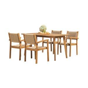 Ensemble à dîner extérieur Chesapeake de Vifah, en bois, brun, ensemble de 5 morceaux
