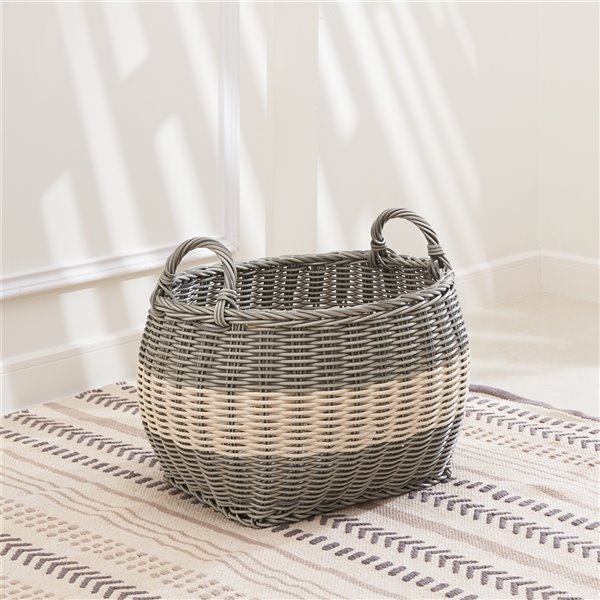 Vifah Hannah Storage and Laundry Basket - Oval - Resin - 17-in