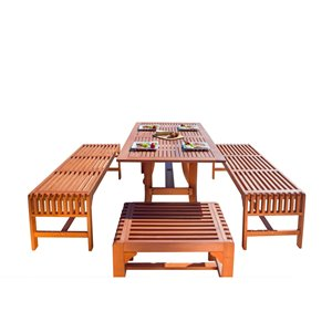 Vifah Malibu Patio Dining Set with Backless Bench - Wood - Brown - 5-Pieces