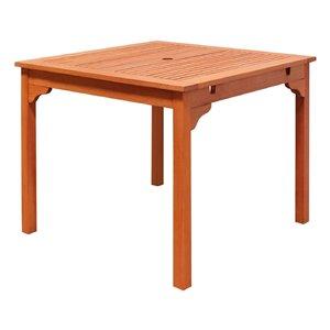 Table de patio empilable Malibu de Vifah avec trou pour parasol, capacité de 4, rectangle, bois, brun, 35 po x 29 po