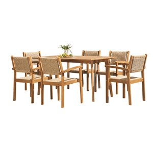 Vifah Chesapeake Patio Dining Set - Wood - Brown - 7-Pieces