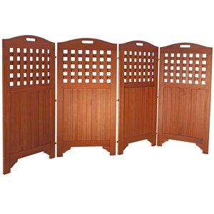 Paravent d'extérieur à 4 panneaux Malibu de Vifah, en bois, brun, 46 po