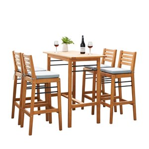 Vifah Gloucester Patio Counter-Height Dining Set - Teak-like and Polyester - Brown and Blue - 5-Pieces