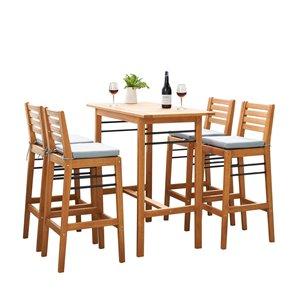 Ensemble à dîner extérieur de style bar Gloucester de Vifah, en teck et en polyester, brun et bleu, ensemble de 5 morceaux