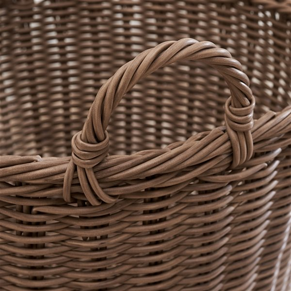 Vifah Mila Storage and Organizing Basket with Handles - Round - Resin - 19-in
