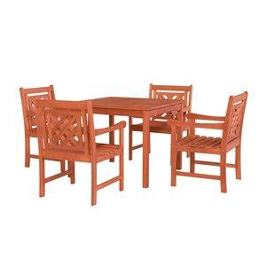Ensemble à dîner extérieur Malibu de Vifah avec table empilable, en bois, brun, ensemble de 5 morceaux