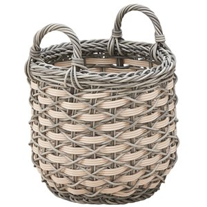 Vifah Valeria Plant Pot and Laundry Basket with Handles - Round - Resin - 18-in