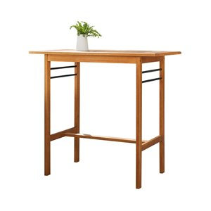 Vifah Gloucester Patio Bar Table with Umbrella Hole - Capacity of 4 - Rectangle - Wood - Brown - 46-in x 42-in