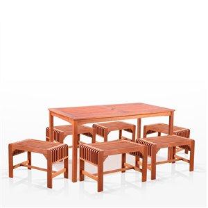 Ensemble à dîner extérieur Malibu de Vifah avec chaises sans dossier, en bois, brun, ensemble de 7 morceaux