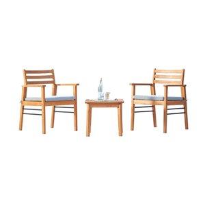 Ensemble de conversation Gloucester de Vifah, en teck et polyester, brun et bleu, ensemble de 3