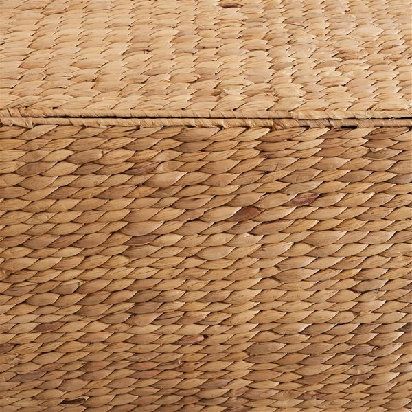 Panier à linge avec couvercle et doublure lavable Ellie de Vifah, rectangulaire, en jacinthe d'eau tissé, 24 po