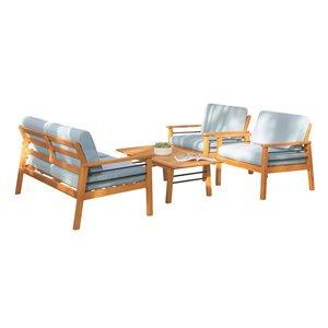 Ensemble de conversation Gloucester de Vifah, en teck et polyester, brun et bleu, ensemble de 4