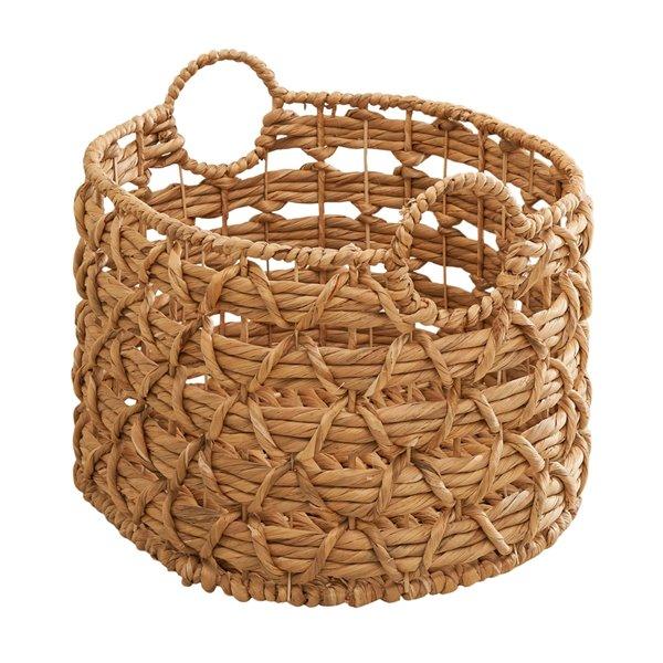 Panier à linge ou de rangement empilable Camila de Vifah, en jacinthe d'eau tissé, ovale, ensemble de 2