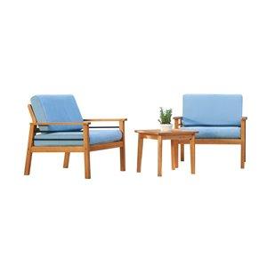 Ensemble de conversation Gloucester de Vifah, avec coussins, en teck et polyester, brun et bleu, ensemble de 3