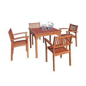 Ensemble à dîner extérieur Malibu de Vifah avec chaises empilables, en bois, brun, ensemble de 5 morceaux