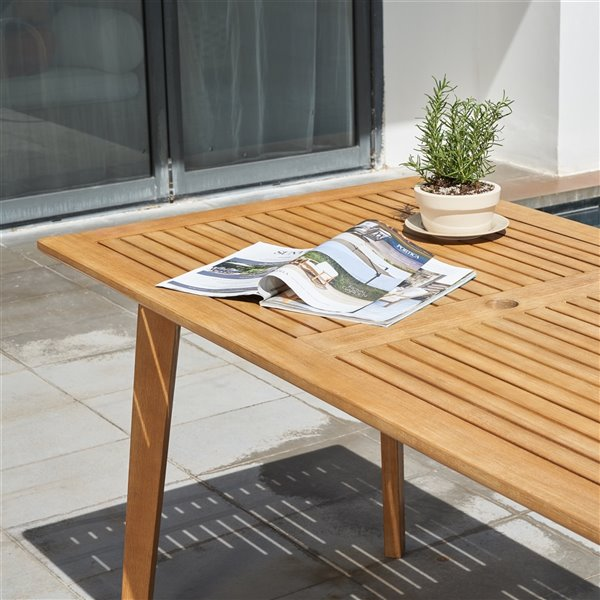 Vifah Chesapeake Patio Dining Table, Outdoor Patio Dining Table With Umbrella Hole