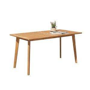 Table de patio Chesapeake de Vifah avec trou pour parasol, capacité de 6, rectangle, bois, brun, 59 po x 30 po