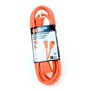 Rallonge électrique d'extérieur de Canada Wire, calibre léger, SJTW, 3 fiches/1 prise, 10 pi, orange