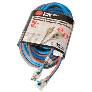 Rallonge électrique hivernale illuminée de Canada Wire, haut calibre, SJEOW, 3 fiches/1 prise, 50 pi, bleu/orange