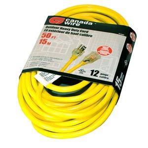 Rallonge électrique d'extérieur illuminée de Canada Wire, haut calibre, SJTW, 3 fiches/1 prise, 50 pi, jaune