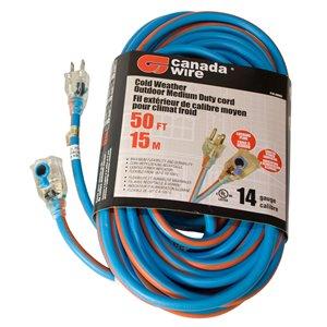 Rallonge électrique hivernale illuminée/verrouillable de Canada Wire, haut calibre, SJEOW, 3 fiches/3 prises, 50 pi, bleu/oran
