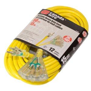 Rallonge électrique d'extérieur illuminée de Canada Wire, haut calibre, SJTW, 3 fiches/3 prises, 50 pi, jaune