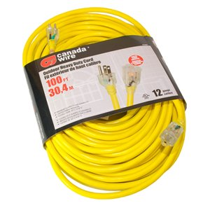 Canada Wire Outdoor Heavy Duty Lighted Extension Cord - SJTW - 3-Prong/1-Outlet - 100-ft - Yellow