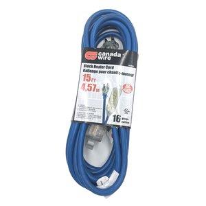 Rallonge électrique d'extérieur illuminée de Canada Wire, calibre moyen, SJTW, 3 fiches/3 prises, 15 pi, bleu
