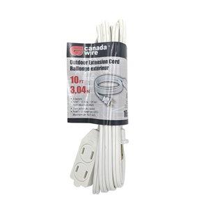 Rallonge électrique intérieur/extérieur de Canada Wire, calibre léger, PXWT, 2 fiches/3 prises, 10 pi, blanc