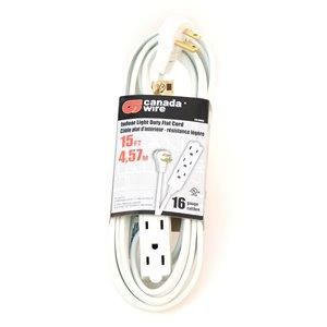 Rallonge électrique d'intérieur à fiche plate de Canada Wire, calibre moyen, SPT3, 3 fiches/3 prises, 15 pi, blanc
