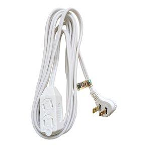 Rallonge électrique intérieur/extérieur de Canada Wire, calibre léger, PXWT, 2 fiches/3 prises, 15 pi, blanc