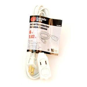 Rallonge électrique d'intérieur de Canada Wire, calibre léger, SPT2, 2 fiches/3 prises, 6 pi, blanc