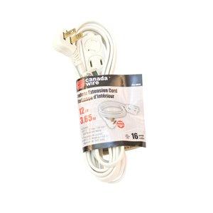 Rallonge électrique d'intérieur à fiche plate de Canada Wire, calibre léger, SPT2, 2 fiches/3 prises, 12 pi, blanc