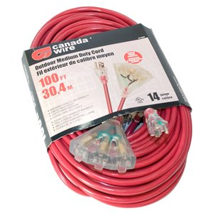 Canada Wire Outdoor Medium Duty Lighted Extension Cord - SJTW - 3-Prong/3-Outlet - 100-ft - Red