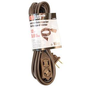 Rallonge électrique d'intérieur de Canada Wire, calibre léger, SPT2, 2 fiches/3 prises, 12 pi, brun