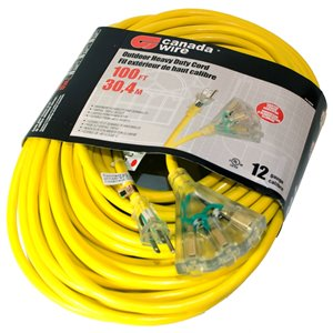 Canada Wire Outdoor Heavy Duty Lighted Extension Cord - SJTW - 3-Prong/3-Outlet - 100-ft - Yellow